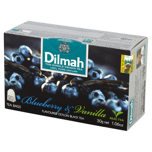 Dilmah Cejlońska czarna herbata z aromatem czarnej jagody i wanilii 30 g (20 torebek)