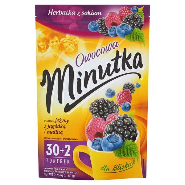 Minutka Owocowa o smaku jeżyny z jagódką i maliną Herbatka z sokiem 64 g (32 torebki)