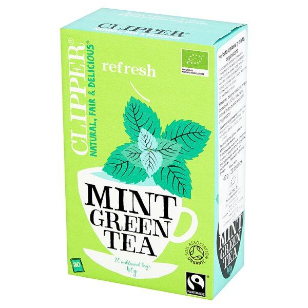 Clipper Herbata zielona z miętą organiczna 40 g (20 torebek)