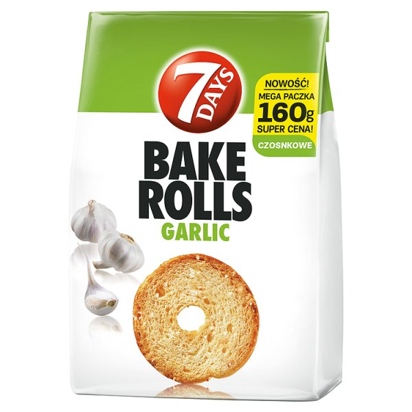 7 Days Bake Rolls Chrupki chlebowe o smaku czosnku 160 g