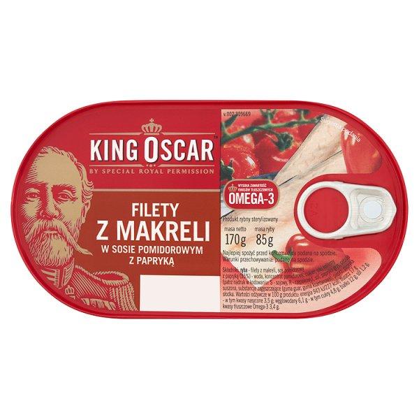 King Oscar Filety z makreli w sosie pomidorowym z papryką 170 g