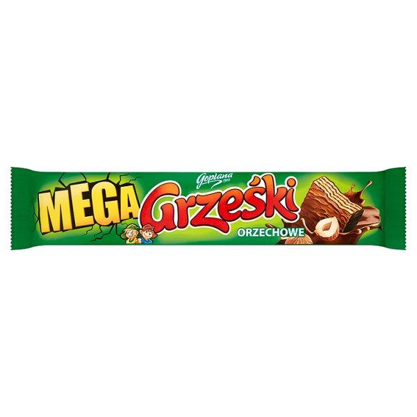 Grześki Mega Orzechowe Wafel przekładany kremem orzechowym w czekoladzie mlecznej 48 g