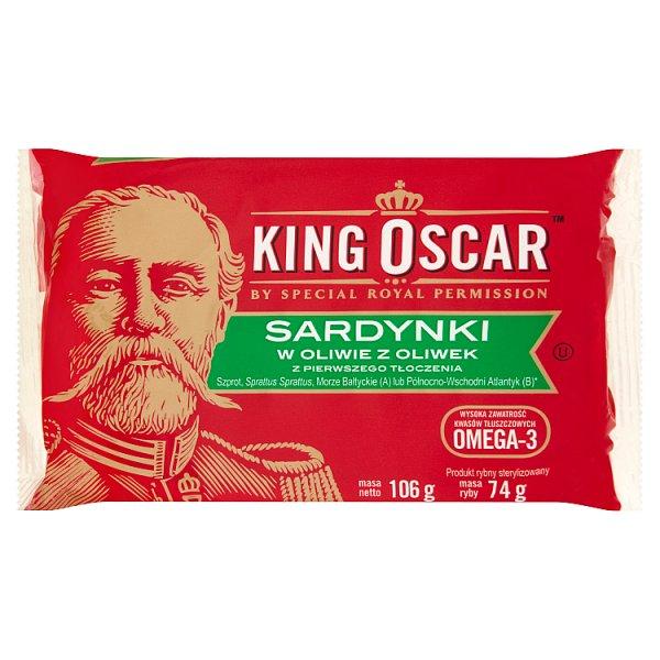 King Oscar Sardynki w oliwie z oliwek z pierwszego tłoczenia 106 g
