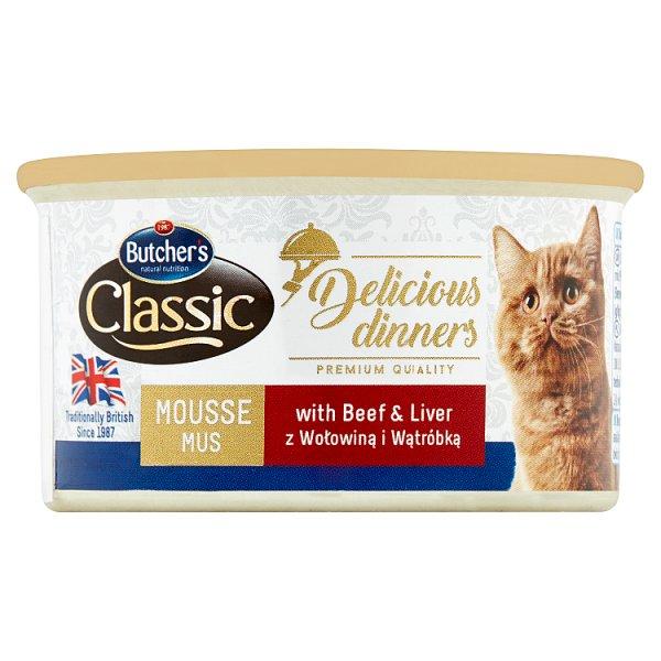 Butcher's Classic Delicious Dinners Karma dla dorosłych kotów mus z wołowiną i wątróbką 85 g
