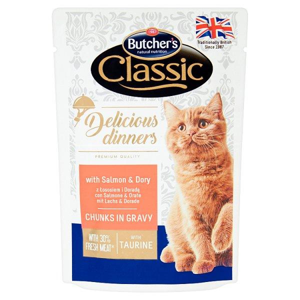 Butcher's Classic Delicious Dinners Karma dla kotów kawałki w sosie z łososiem i doradą 100 g
