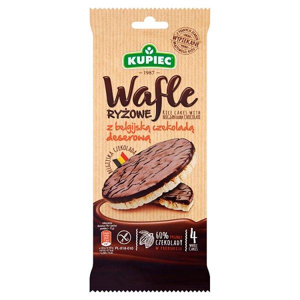 Kupiec Wafle ryżowe z belgijską czekoladą deserową 60 g (4 sztuki)