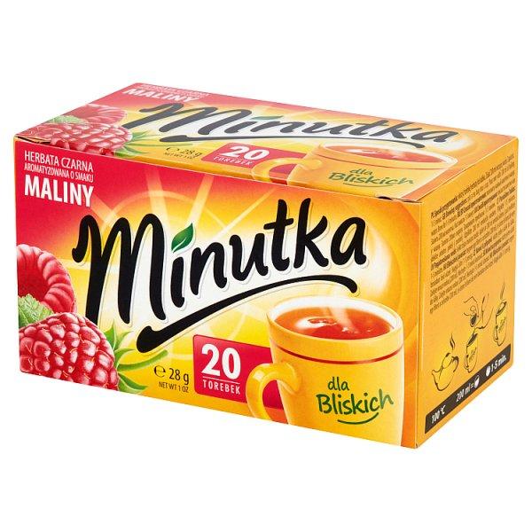 Minutka Herbata czarna aromatyzowana o smaku maliny 28 g (20 torebek)