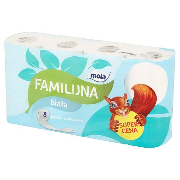 Mola Familijna Biała Papier toaletowy 8 rolek
