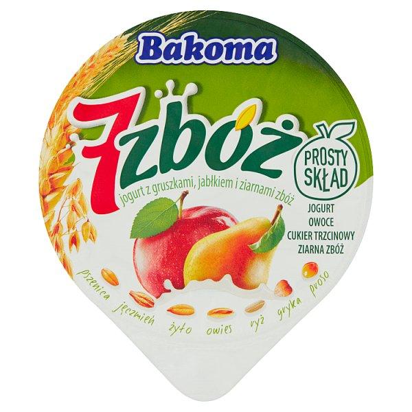 Bakoma 7 zbóż Jogurt z gruszkami jabłkiem i ziarnami zbóż 140 g
