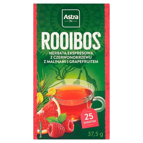 Astra Rooibos Herbata ekspresowa Rooibos z malinami i grapefruitem 37,5 g (25 x 1,5 g)