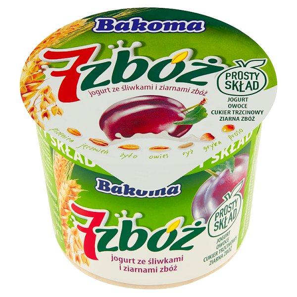 Bakoma 7 zbóż Jogurt ze śliwkami i ziarnami zbóż 300 g