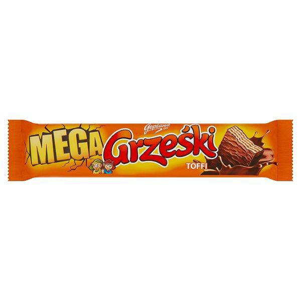 Grześki Mega Wafel przekładany kremem o smaku toffi w czekoladzie mlecznej 48 g