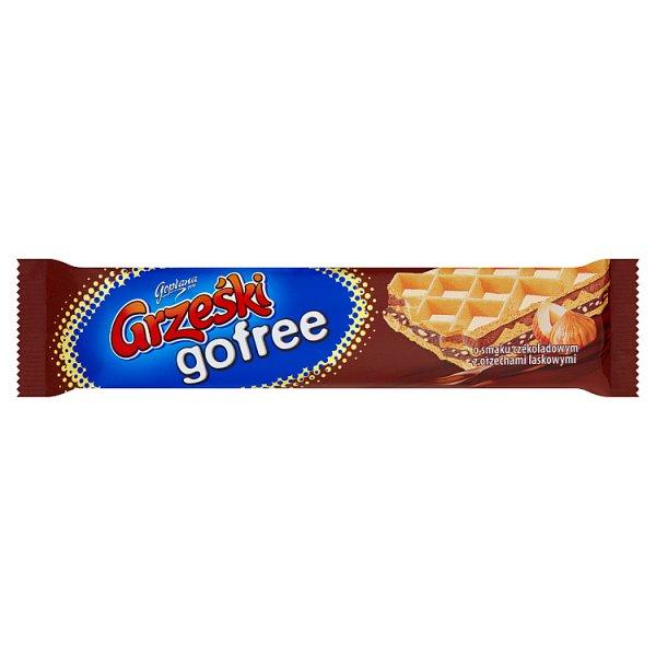 Grześki gofree Wafel przekładany kremem o smaku czekoladowym z orzechami laskowymi 33 g