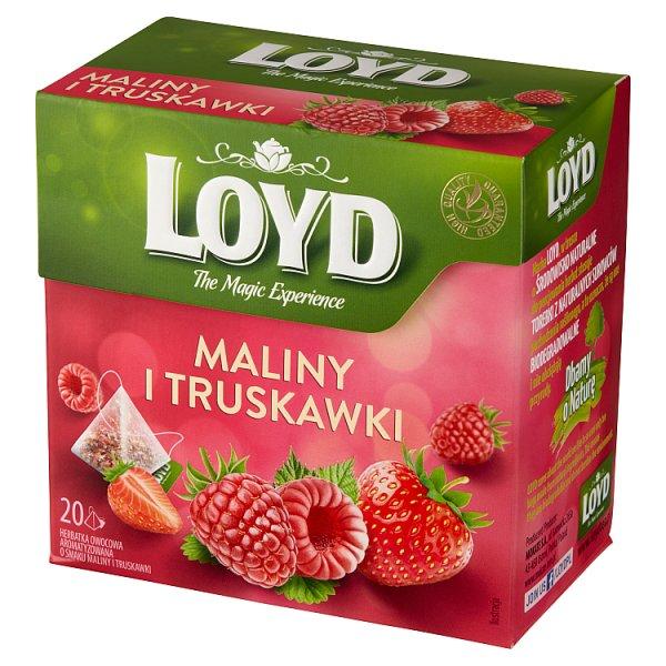 Loyd Herbatka owocowa aromatyzowana o smaku maliny i truskawki 40 g (20 x 2 g)