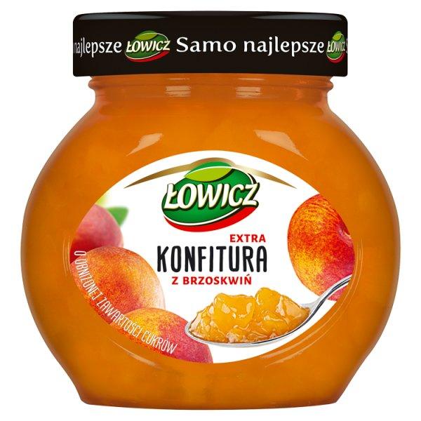 Łowicz Konfitura extra z brzoskwiń o obniżonej zawartości cukrów 240 g
