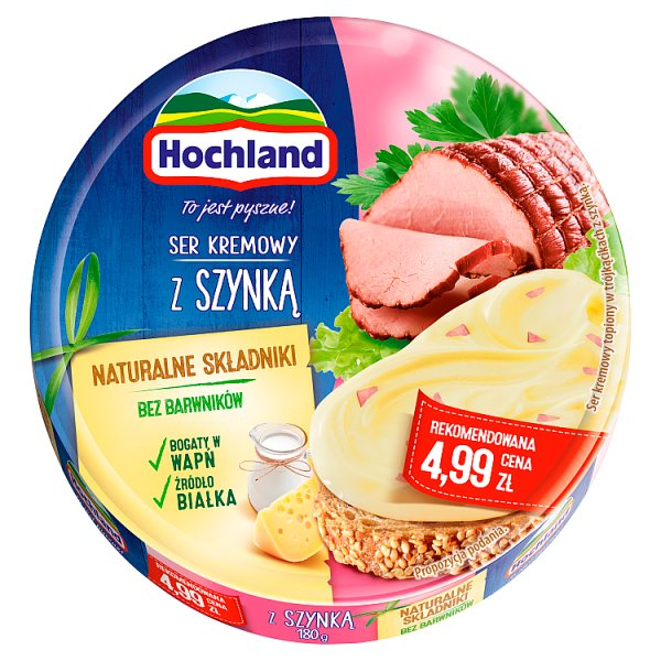 Hochland Ser kremowy z szynką w trójkącikach 180 g