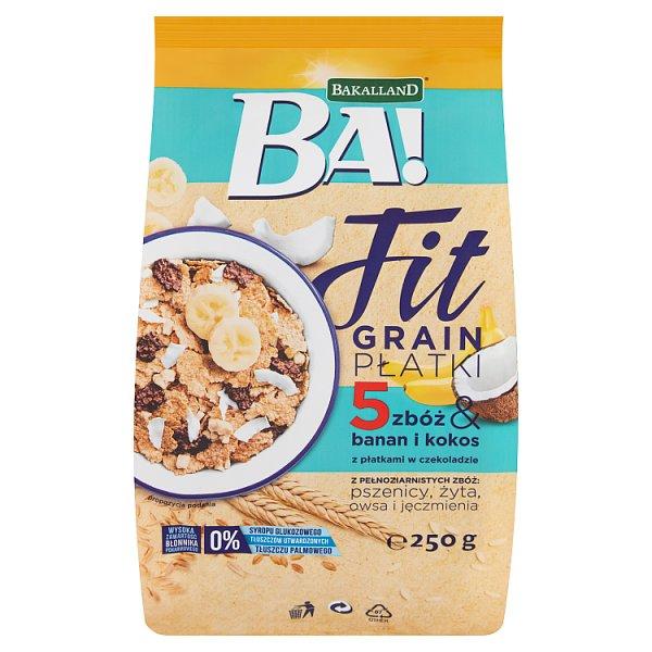 Bakalland Ba! Fit Grain Płatki 5 zbóż & banan i kokos z płatkami w czekoladzie 250 g