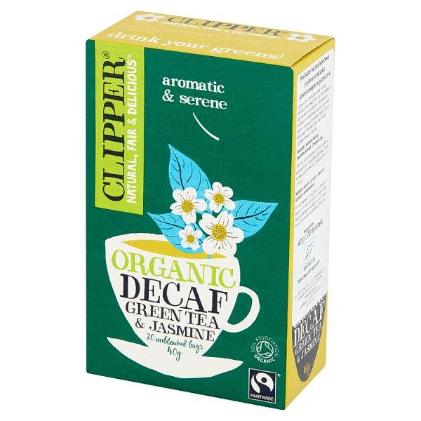 Clipper Herbata bezkofeinowa zielona o smaku jaśminowym organiczna 40 g (20 torebek)