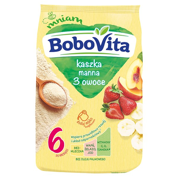 BoboVita Kaszka manna 3 owoce po 6. miesiącu 180 g