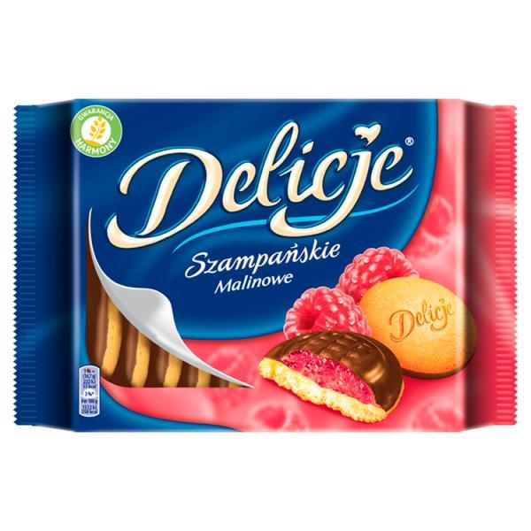 Delicje Szampańskie Biszkopty z galaretką o smaku malinowym oblewane czekoladą 294 g