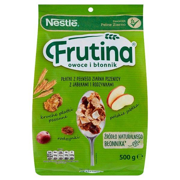 Nestlé Frutina Owoce i Błonnik Płatki z pełnego ziarna pszenicy z jabłkami i rodzynkami 500 g
