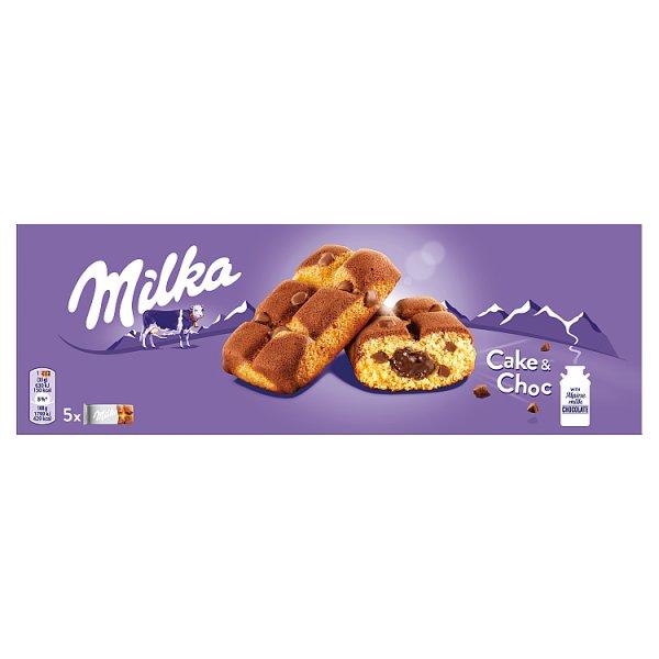 Milka Cake & Choc Ciastka biszkoptowe z kawałkami czekolady mlecznej 175 g (5 x 35 g)