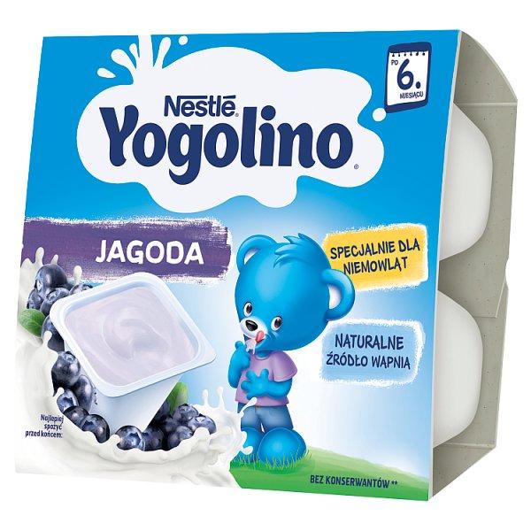 Nestlé Yogolino Deserek mleczno-owocowy jagoda dla niemowląt po 6. miesiącu 400 g (4 x 100 g)