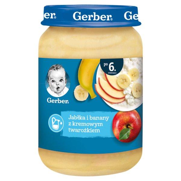 Gerber Jabłka i banany z kremowym twarożkiem dla niemowląt po 6. miesiącu 190 g
