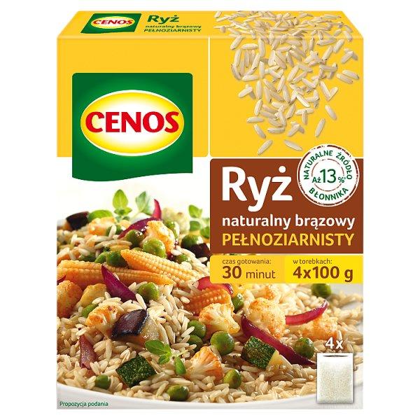 Cenos Ryż naturalny brązowy pełnoziarnisty 400 g (4 x 100 g)
