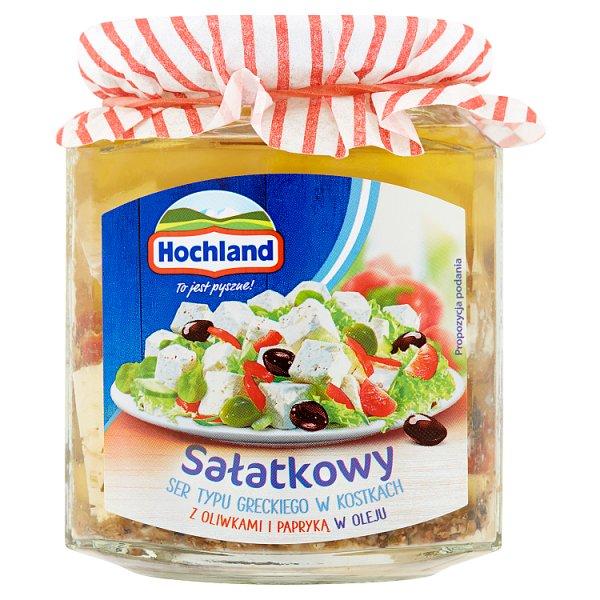 Hochland Sałatkowy ser typu greckiego w kostkach z oliwkami i papryką w oleju 300 g