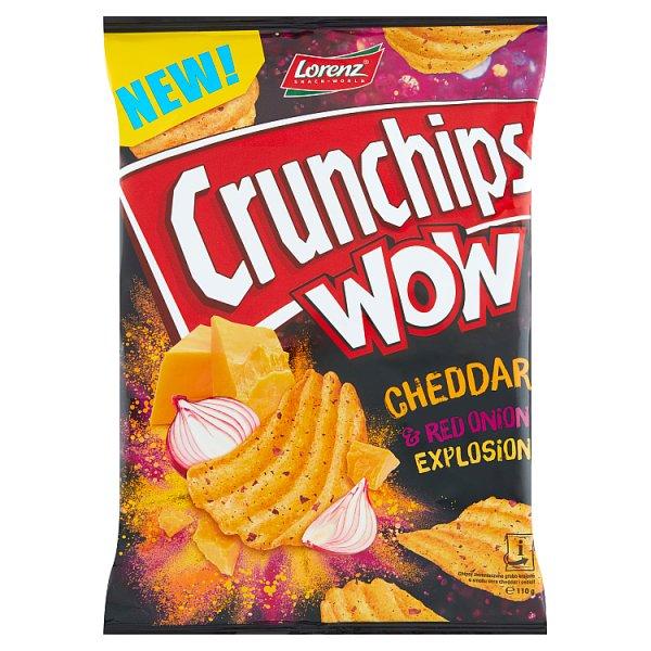 Crunchips Wow Grubo krojone chipsy ziemniaczane o smaku sera cheddar i cebuli 110 g