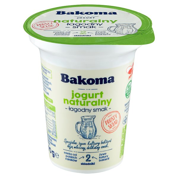 Bakoma Jogurt naturalny łagodny smak 290 g