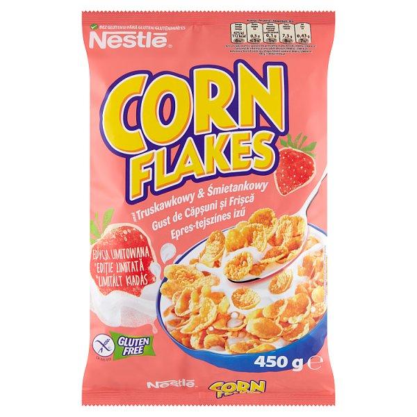 Nestlé Corn Flakes Płatki kukurydziane smak truskawkowy & śmietankowy 450 g