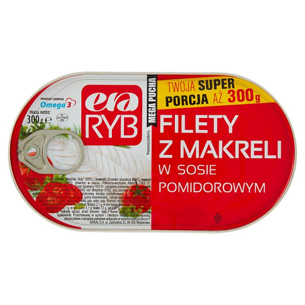 Era Ryb Filety z makreli w sosie pomidorowym 300 g