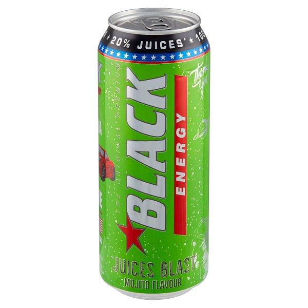 Black Energy Juices Blast Gazowany napój energetyzujący o smaku limonka-mięta 500 ml