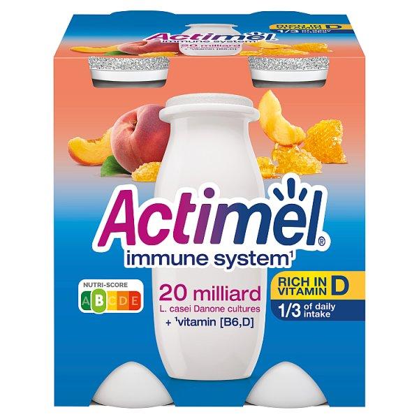 Actimel Mleko fermentowane o smaku brzoskwiniowym z mleczkiem pszczelim 400 g (4 x 100 g)