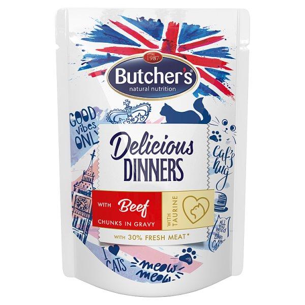 Butcher's Delicious Dinners Karma dla dorosłych kotów kawałki w sosie z wołowiną 100 g