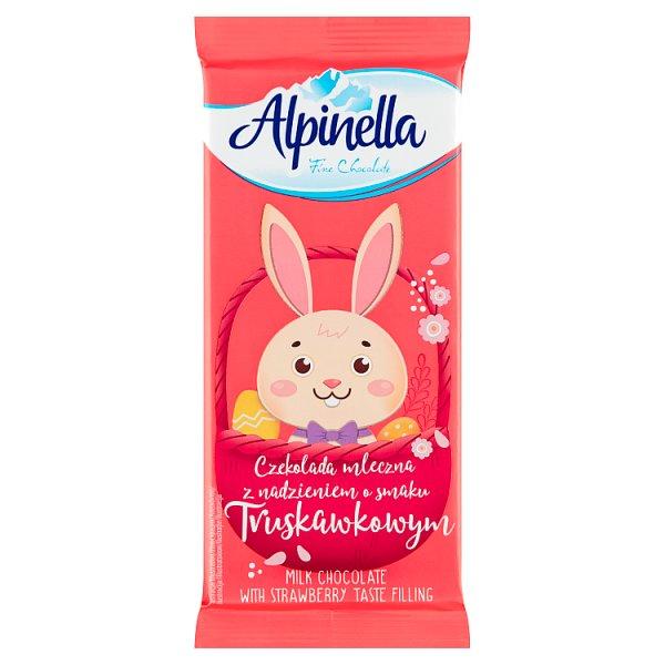 Alpinella Czekolada mleczna z nadzieniem o smaku truskawkowym 100 g