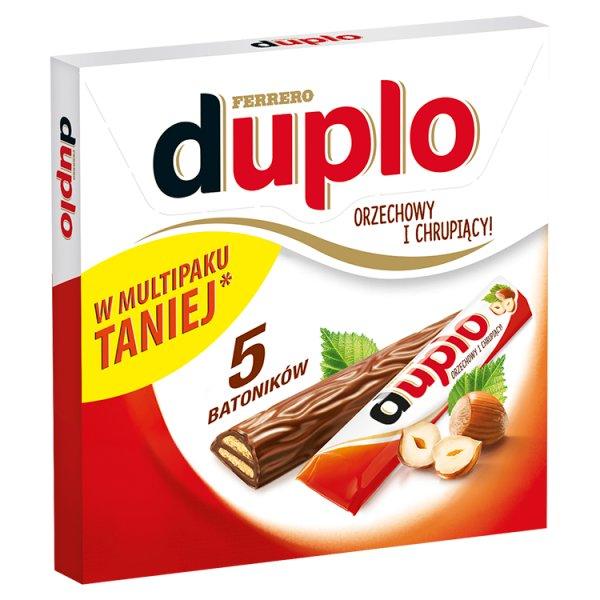 Duplo Wafel z orzechowym nadzieniem pokryty mleczną czekoladą 91 g (5 sztuk)