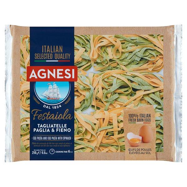 Agnesi Tagliatelle Paglia & Fieno Makaron jajeczny i makaron jajeczny ze szpinakiem 250 g