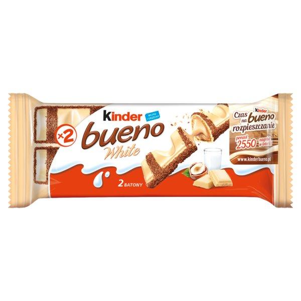 Kinder Bueno White Wafel w białej czekoladzie z mleczno-orzechowym nadzieniem 39 g (2 sztuki)