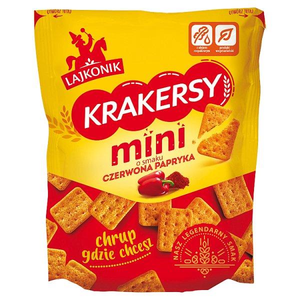 Lajkonik Krakersy mini o smaku czerwona papryka 100 g
