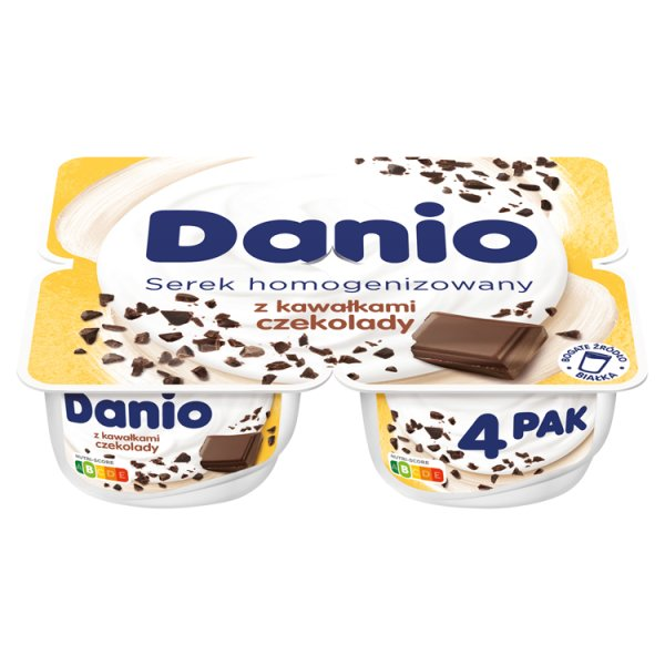 Danio Serek homogenizowany z kawałkami czekolady 520 g (4 x 130 g)