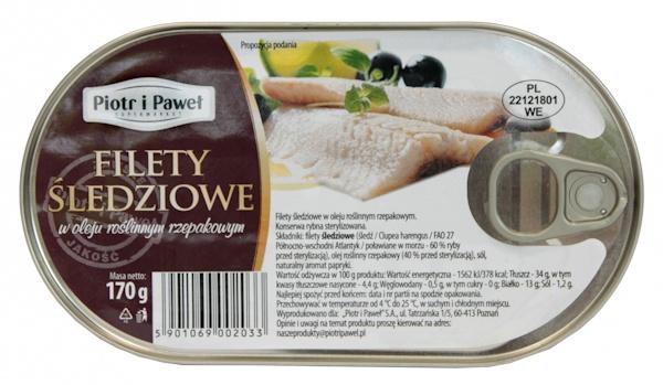 Filety śledziowe w oleju roślinnym Piotr i Paweł