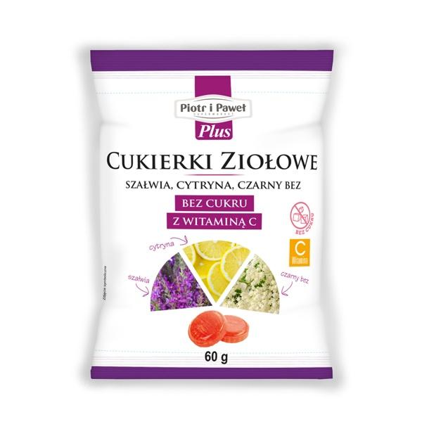 Cukierki ziołowe szałwia, cytryna, czarny bez, bez cukru z witaminą C