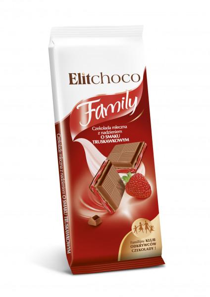 Czekolada elitchoco family mleczna z nadzieniem truskawkowym