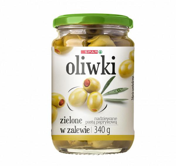 Spar oliwki zielone nadziewane pastą paprykową