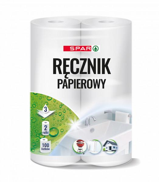 Spar ręcznik papierowy 3 warstwowy 2 rolki po 100 listków