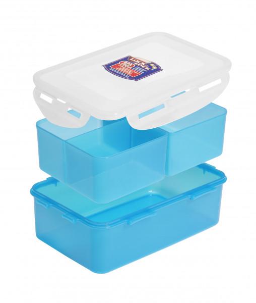Pojemnik plastik prostokątny dziel.niebieski 1l